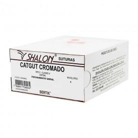 fio de sutura catgut cromado 0 c agulha 12 cilindrica cx c 24 und shalon